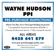 WAYNE HUDSON PPI pre-purchase building inspections, newcastle/hunter va